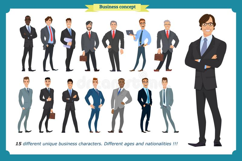 Bedrijfsmensenreeks mensen in kostuums geïsoleerde vector op een wit royalty-vrije illustratie