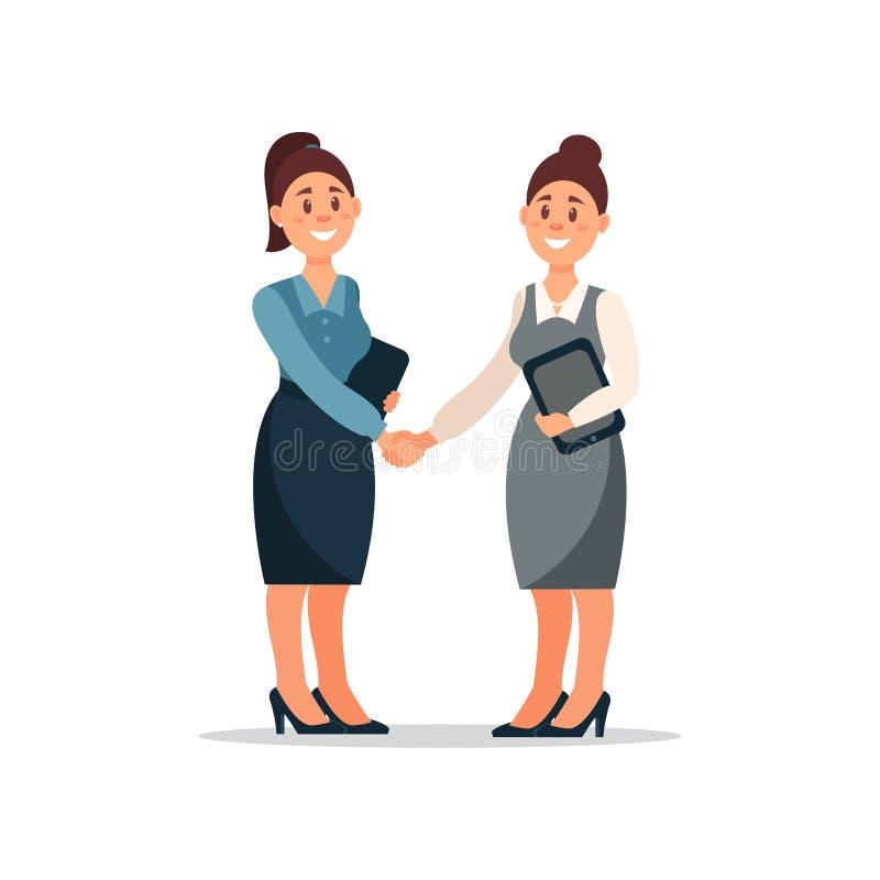 Bedrijfsmensensamenwerkingsovereenkomst, handdruk van twee onderneemsters, de productieve vector van het vennootschapbeeldverhaal royalty-vrije illustratie