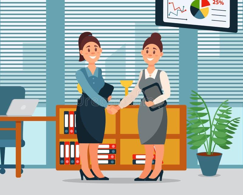 Bedrijfsmensensamenwerkingsovereenkomst, handdruk van twee onderneemsters, productieve partnershi, modern bureaubinnenland vector illustratie