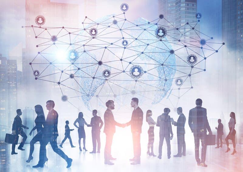 Bedrijfsmensensilhouetten, netwerk