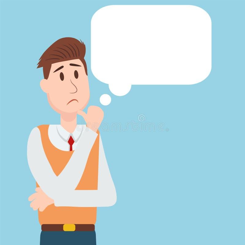 Bedrijfsmensenstudent het denken karakter vectorontwerp vector illustratie