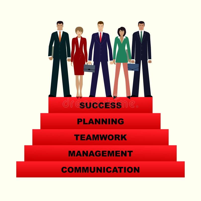 Bedrijfsmensenteam die naar succes, stap 5 voor succes stijgen stock illustratie
