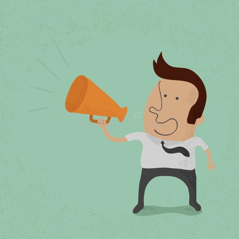 Bedrijfsmensentoejuiching met een megafoon royalty-vrije illustratie