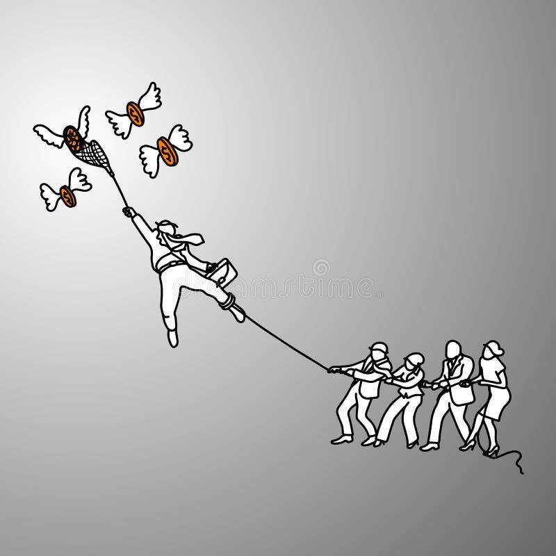 Bedrijfsmensentouwtrekwedstrijd met vliegende geld vectorillustratie vector illustratie