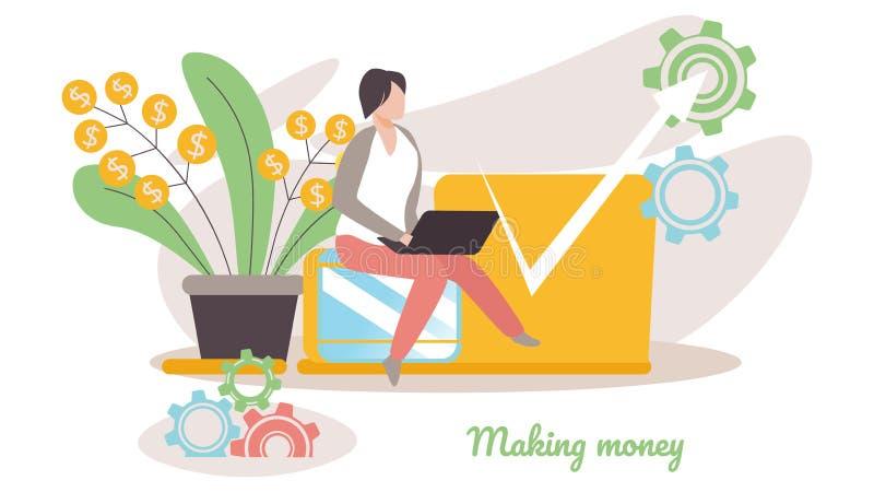 Bedrijfsmensenzitting dichtbij Geldinstallatie met Pijl royalty-vrije illustratie