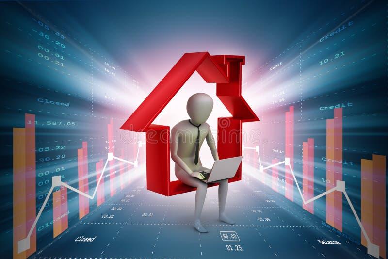 Bedrijfsmensenzitting op het symbool van huis terwijl het gebruiken van laptop stock illustratie
