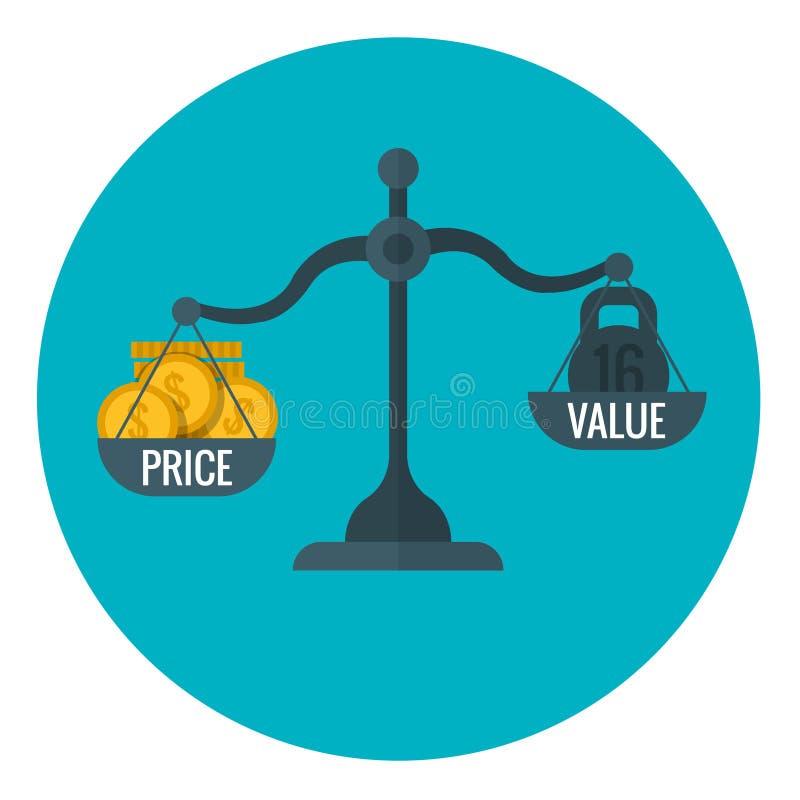 Bedrijfsmeting die van prijs en waarde met schaal, voor winst van vectorconcept de prijs vaststellen royalty-vrije illustratie