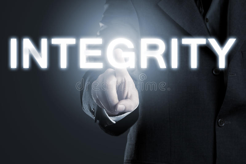 Bedrijfsmoraal of ethiekconcept, mens die op het woord richten 'inte stock afbeelding