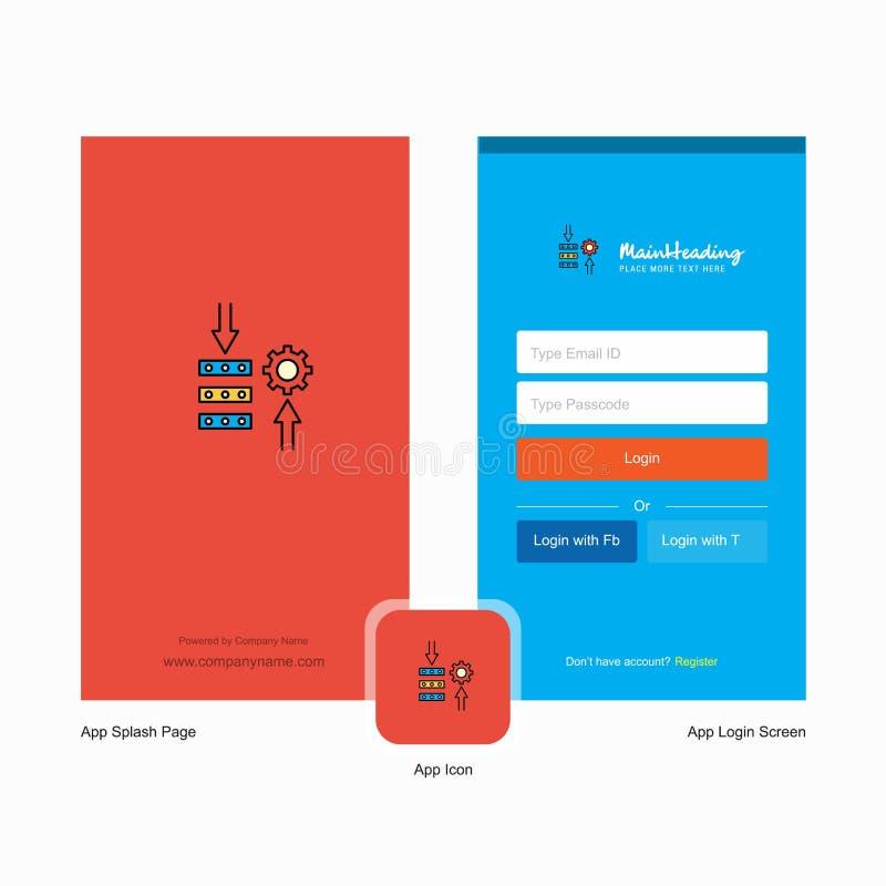 Bedrijfsnetwerk het plaatsen Welkomstscherm en Login Paginaontwerp met Embleemmalplaatje Mobiel Online Bedrijfsmalplaatje royalty-vrije illustratie