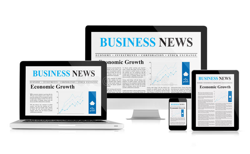 Bedrijfsnieuwsvoer op mobiele apparaten stock illustratie