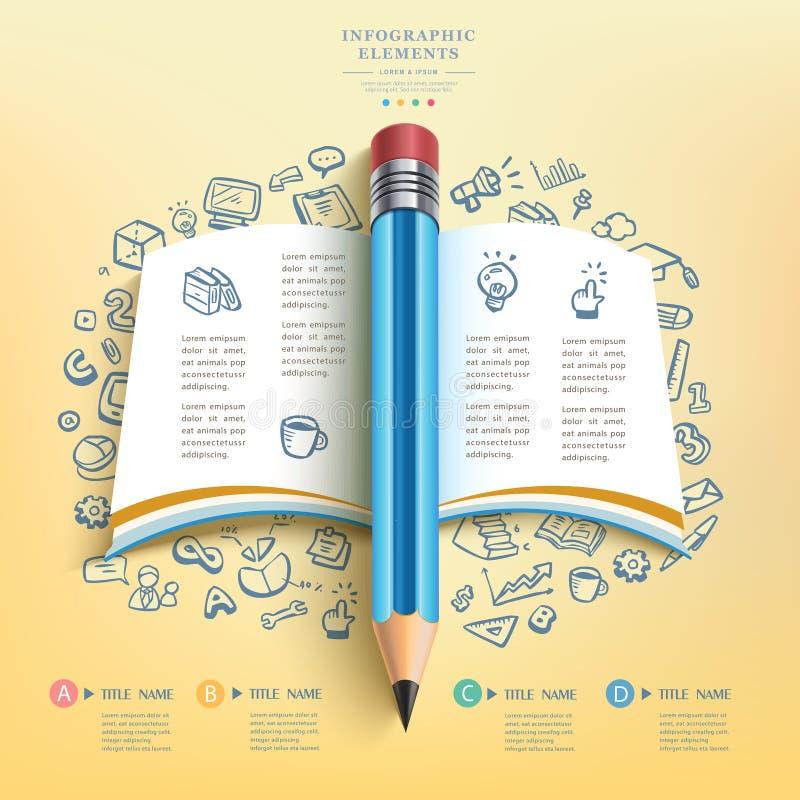 Bedrijfsonderwijspotlood Infographics stock illustratie
