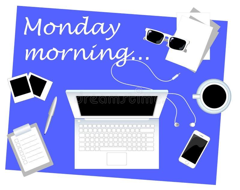 Bedrijfsontbijt op vlakke de stijl vectorillustratie van de Maandagochtend met plaats voor tekst royalty-vrije illustratie