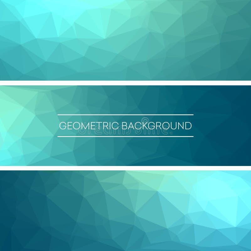 Bedrijfsontwerpmalplaatjes Reeks Banners met Veelhoekige Mozaïekachtergronden Geometrische Driehoekige Samenvatting Vector vector illustratie