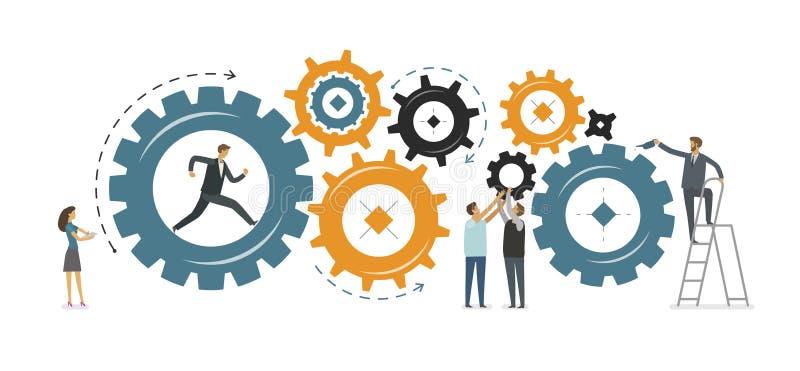 Bedrijfsontwikkeling, groepswerkconcept Vector illustratie royalty-vrije illustratie