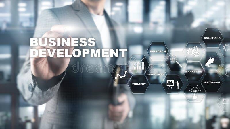 Bedrijfsontwikkelings Start de Groeistatistieken Financieel het Ontwikkelingsproces Grafisch Concept van de Planstrategie stock foto