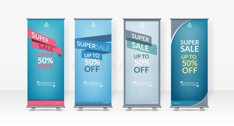 Bedrijfsop een hoger niveau weergevenontwerpsjabloon, x-Tribune, Verticale vlag-banner ontwerplay-out, rechtopstaande reizigerver stock afbeelding