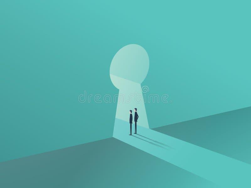Bedrijfsoplossing of succesconcept met twee zakenlieden die zich in de deur van de sleutelgatvorm bevinden stock illustratie
