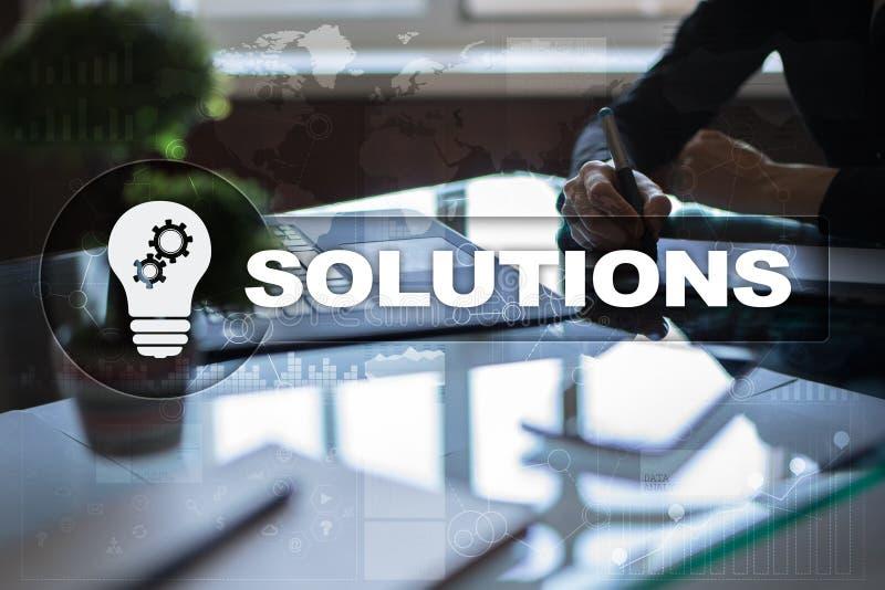Bedrijfsoplossingenconcept op het virtuele scherm royalty-vrije stock foto