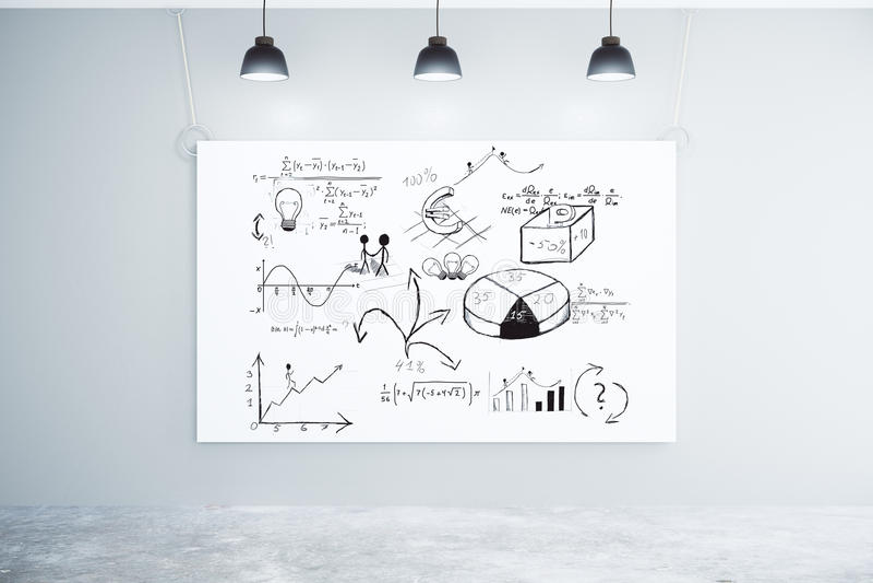 Bedrijfsoplossingenconcept op witte grote affiche in leeg ruimteverstand stock afbeelding