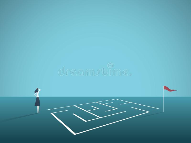 Bedrijfsoplossings vectorconcept met onderneemster die zich voor labyrint, labyrint bevinden Symbool van uitdaging, strategie stock illustratie