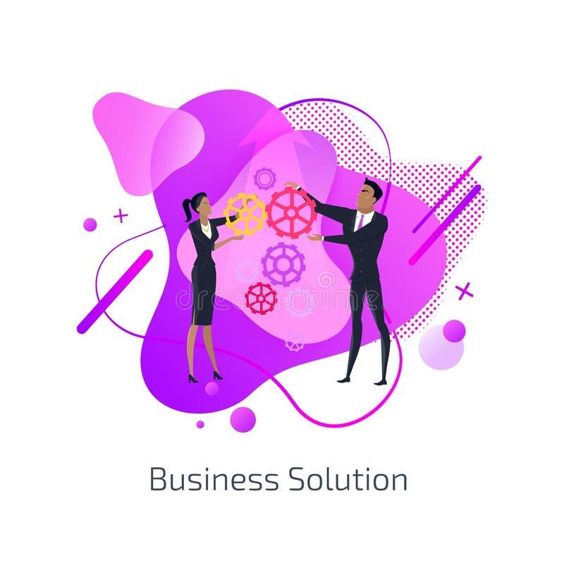 Bedrijfsoplossingsman en van de Vrouw Groepswerktoestellen stock illustratie