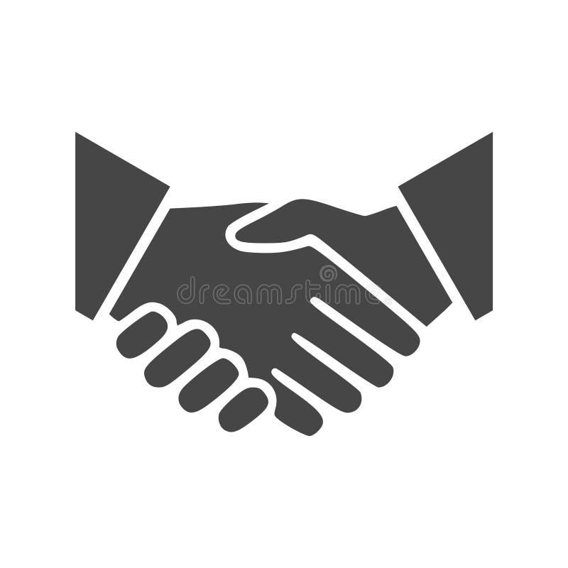Bedrijfsovereenkomstenhanddruk of vriendschappelijke handdruk, Vennootschappictogram stock illustratie