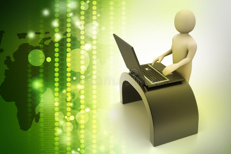Bedrijfspersoon aan een bureau met laptop stock illustratie