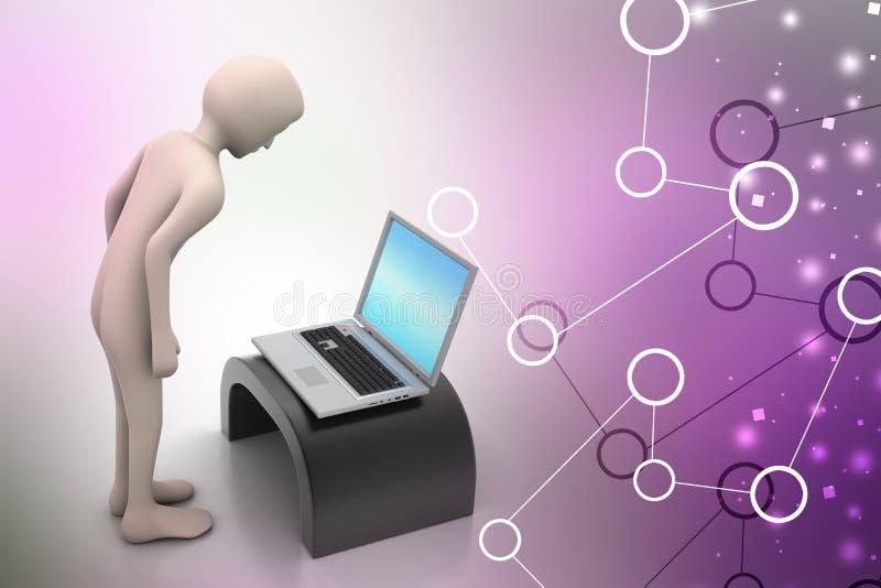 Bedrijfspersoon die laptop kijken vector illustratie