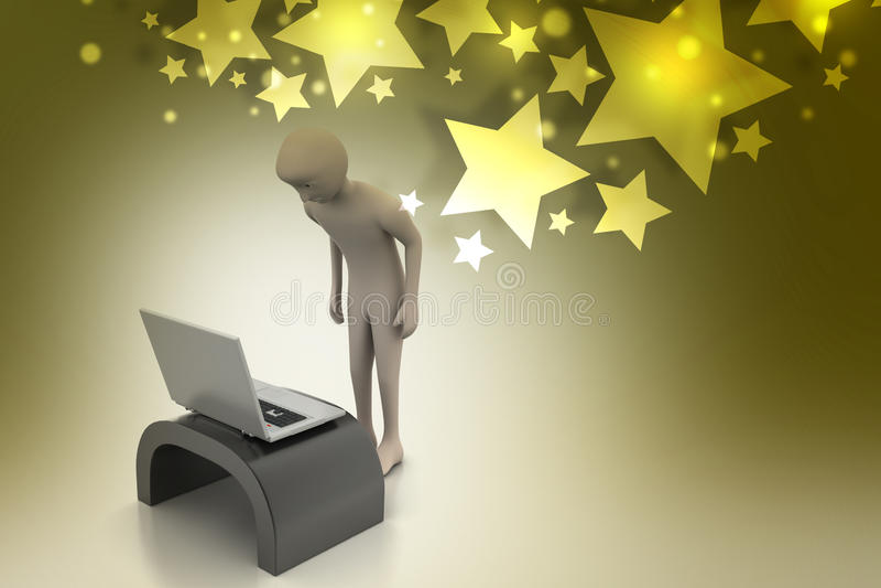 Bedrijfspersoon die laptop kijken royalty-vrije illustratie