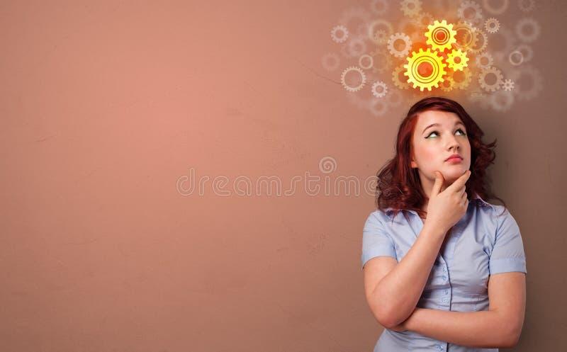 Bedrijfspersoon die zich met brainstormingsconcept bevinden stock foto's