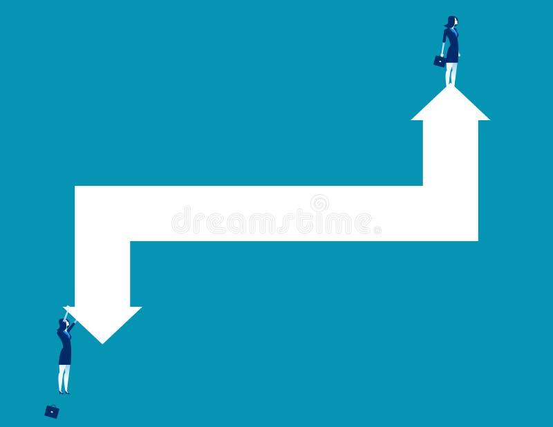 Bedrijfspersoon en pijlen die stijging en daling vertegenwoordigen Concepten bedrijfs vectorillustratie royalty-vrije illustratie