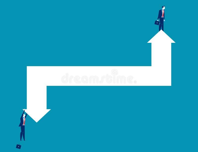 Bedrijfspersoon en pijlen die stijging en daling vertegenwoordigen Concepten bedrijfs vectorillustratie vector illustratie