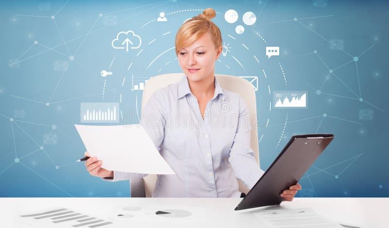 Bedrijfspersoon met operationeel concept royalty-vrije illustratie