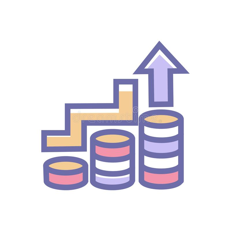 Bedrijfspictogram van het de groei of het bedrijfssucces of verhogings vector schoon bedrijfs de groeipictogram met muntstuk en o vector illustratie
