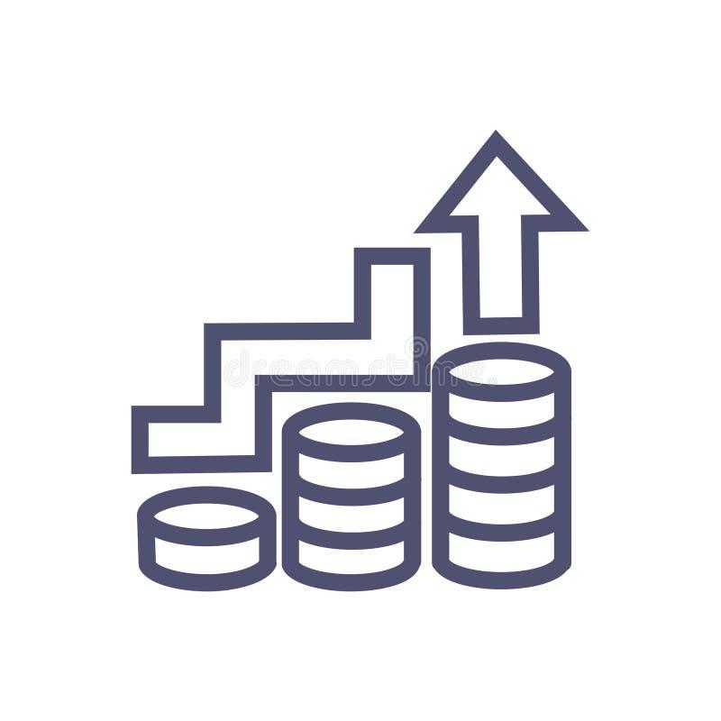 Bedrijfspictogram van het de groei of het bedrijfssucces of verhogings vector schoon bedrijfs de groeipictogram met muntstuk en o stock illustratie