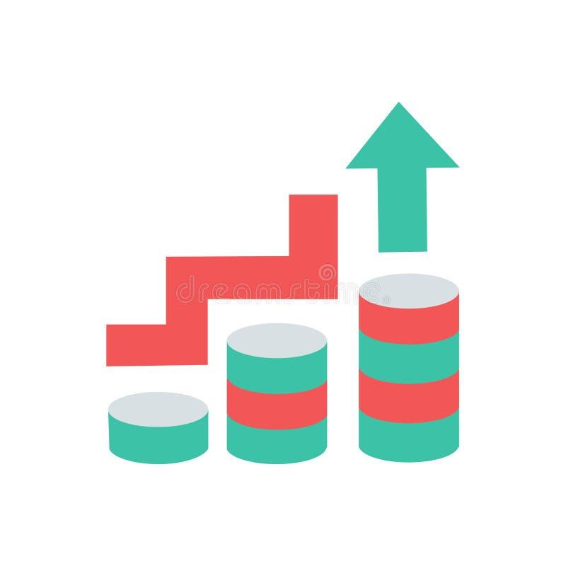 Bedrijfspictogram van het de groei of het bedrijfssucces of verhogings vector schoon bedrijfs de groeipictogram met muntstuk en o royalty-vrije illustratie