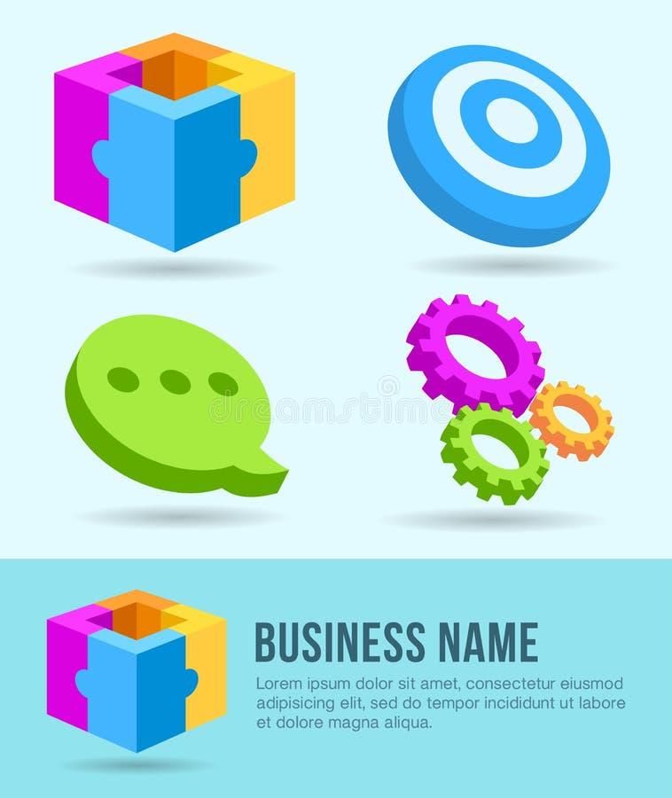 Bedrijfspictogrammen, Banner, Ontwerpelement, Marketing vector illustratie