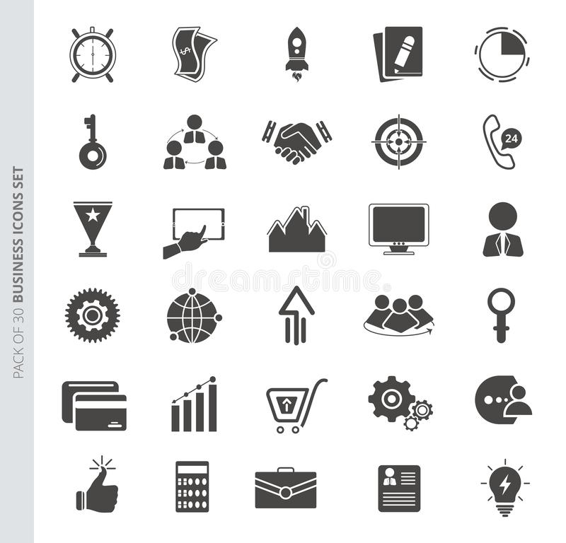 Bedrijfspictogrammen die in in vlakke stijl worden geplaatst die op witte achtergrond wordt geïsoleerd royalty-vrije illustratie