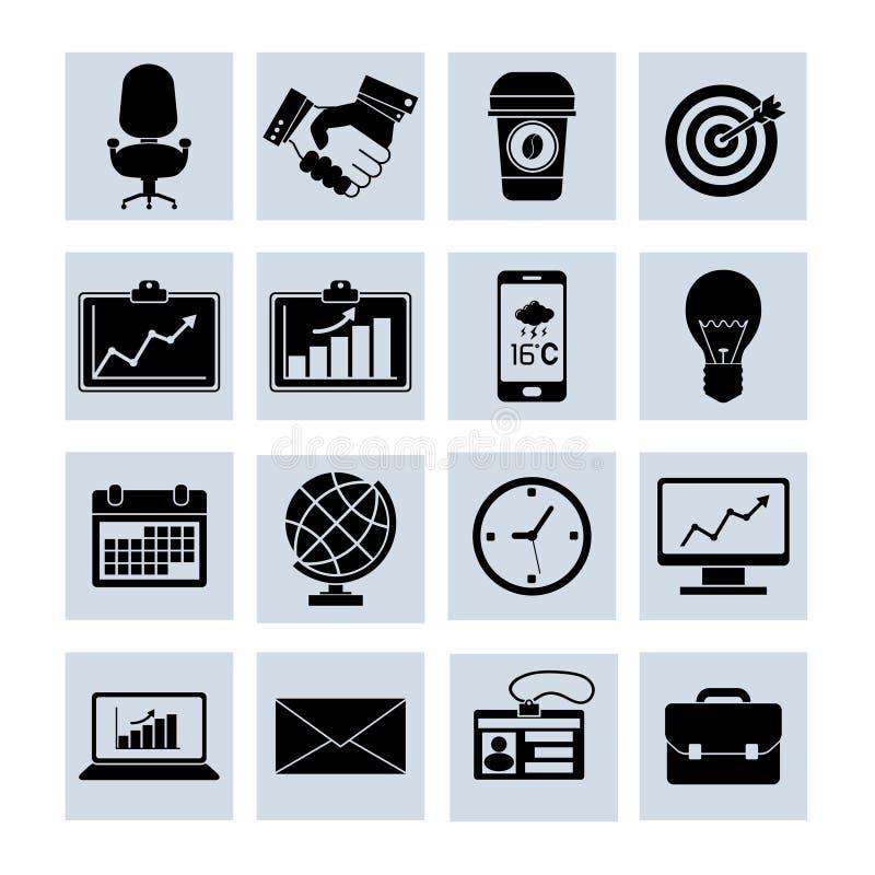 Bedrijfspictogrammen Geplaatst Zwart vector illustratie