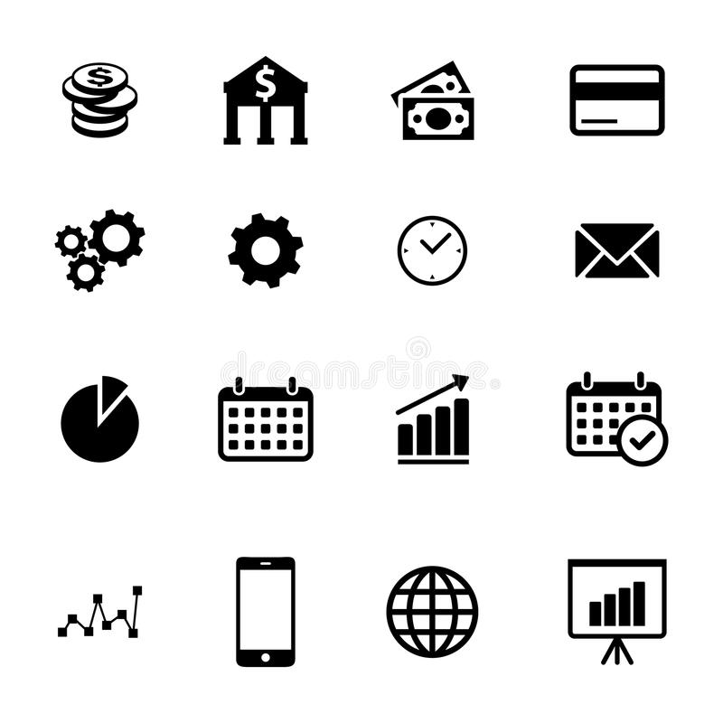 Bedrijfspictogrammen, reeks van eenvoudige zaken en financiënpictogrammen vector illustratie