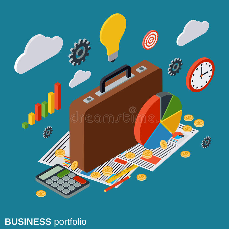 Bedrijfsportefeuille, plan, rapport, financiële statistieken, analytics vectorconcept vector illustratie