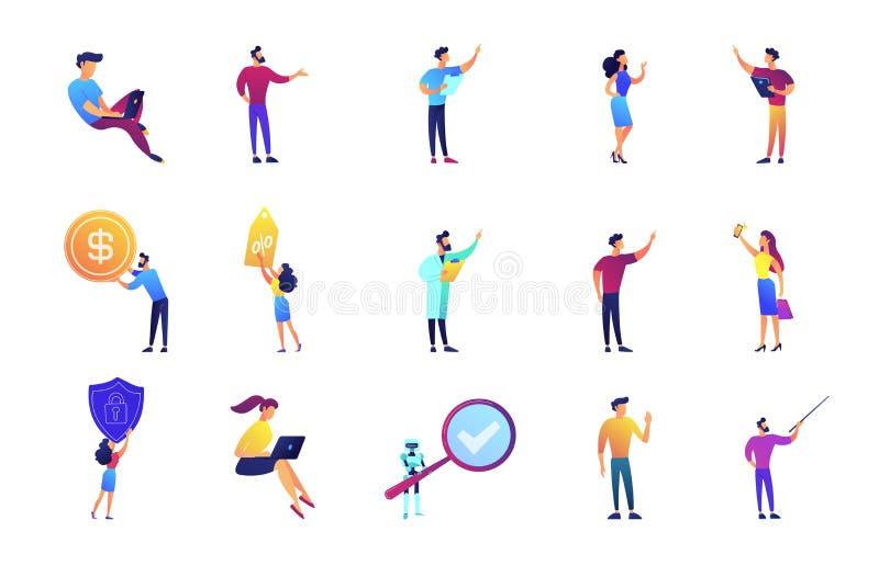 Bedrijfspresentatie en lezings vector geplaatste illustraties vector illustratie
