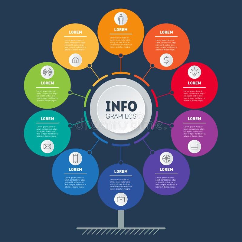 Bedrijfspresentatie of infographicsconcept met 10 opties Webmalplaatje van de dienstboom, informatiegrafiek of diagram Vectorinfo stock illustratie