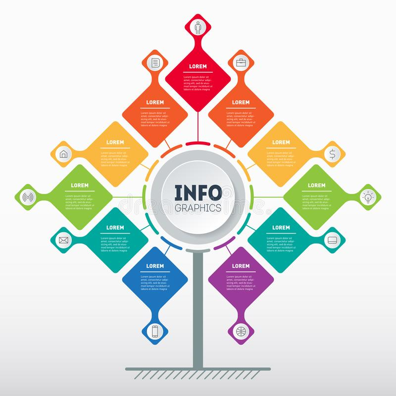 Bedrijfspresentatieconcept met 11 opties Malplaatje van boom, informatiegrafiek of diagram met proces elf Vector infographic van royalty-vrije illustratie
