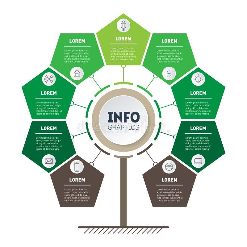 Bedrijfspresentatieconcept met 9 punten, delen, stappen of pro stock illustratie