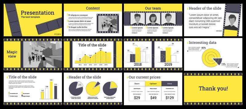 Bedrijfspresentatiemalplaatje in geel en grijs op witte backg stock illustratie