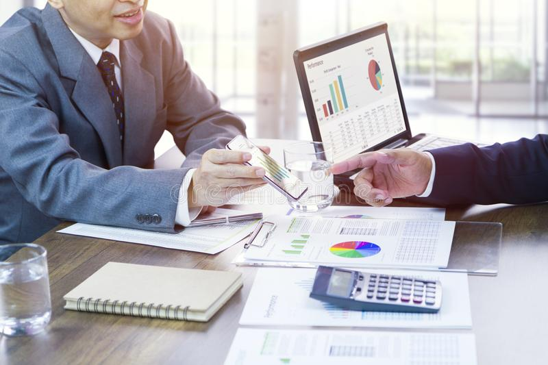Bedrijfsprestatiesoverzicht en strategie planning royalty-vrije stock foto