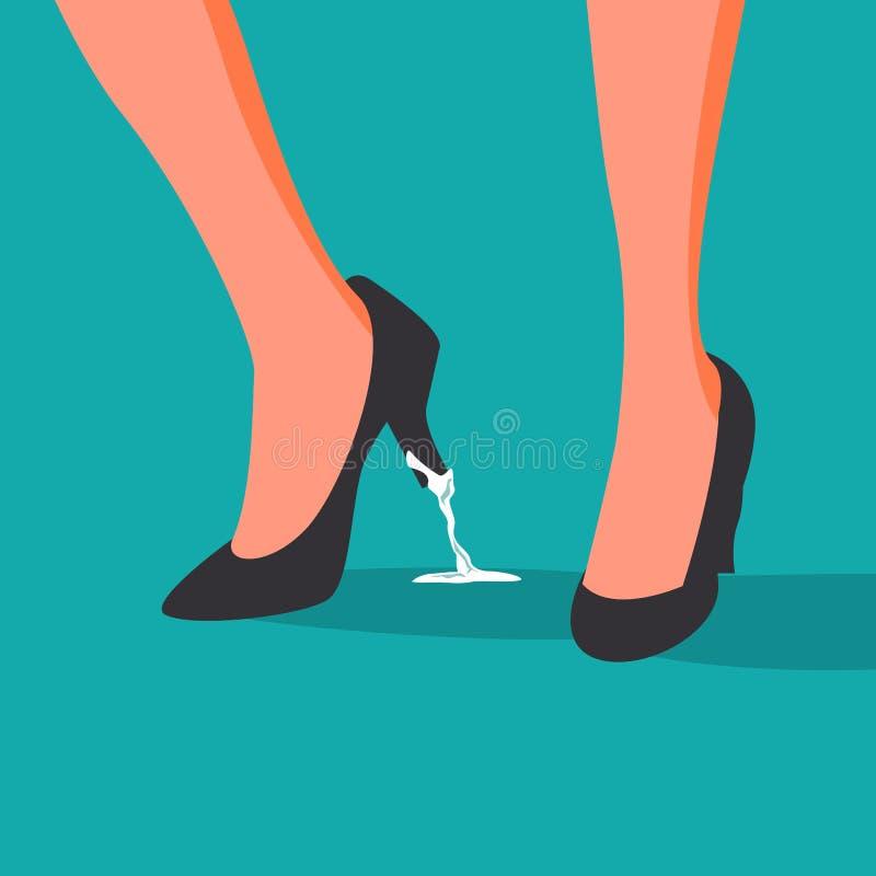 Bedrijfsprobleem Geplakte Vector voeten Bedrijfsvrouwenschoen met Kauwgom Verkeerde Stap, Besluit De illustratie van het beeldver vector illustratie