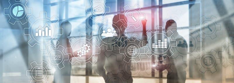 Bedrijfsproces abstract diagram met toestellen en pictogrammen Werkschema en automatiseringstechnologie royalty-vrije stock afbeeldingen