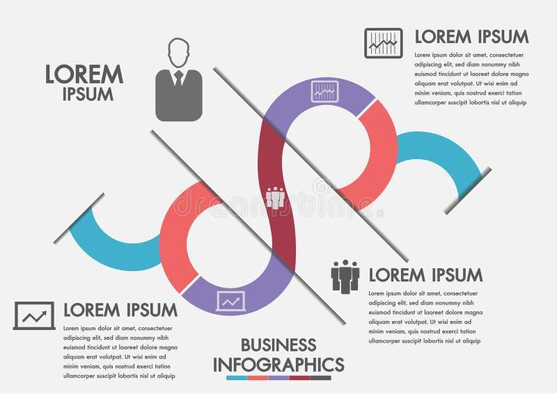 Bedrijfsproces Chronologieinfographics met 3 opties, cirkels Vector Malplaatje Drie stappeninfographics een strategie, een werksc royalty-vrije illustratie